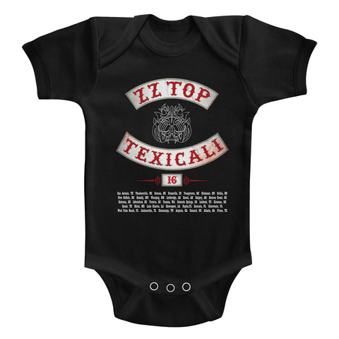 ZZ Top Infant S/S Bodysuit - Texicali - Solid Black