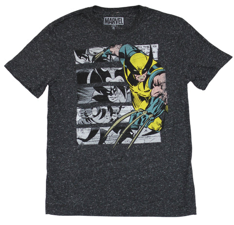 Wolverine (Marvel) Mens T-Shirt - Yellow Wolverine Over Comic Panels