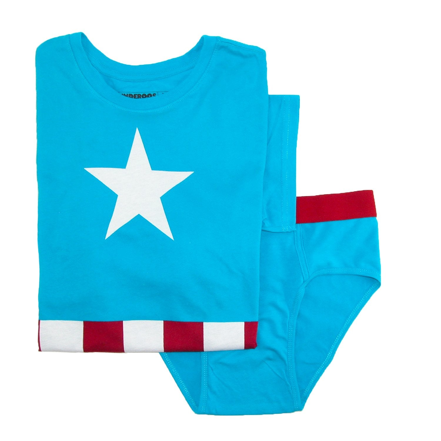Underoos Mens Marvel Captain America Tee and Brief Set