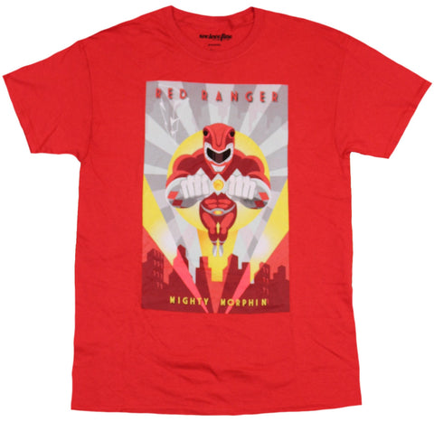 Mighty Morphin Power Rangers Mens T-Shirt  - Jumping Red Ranger Poster image