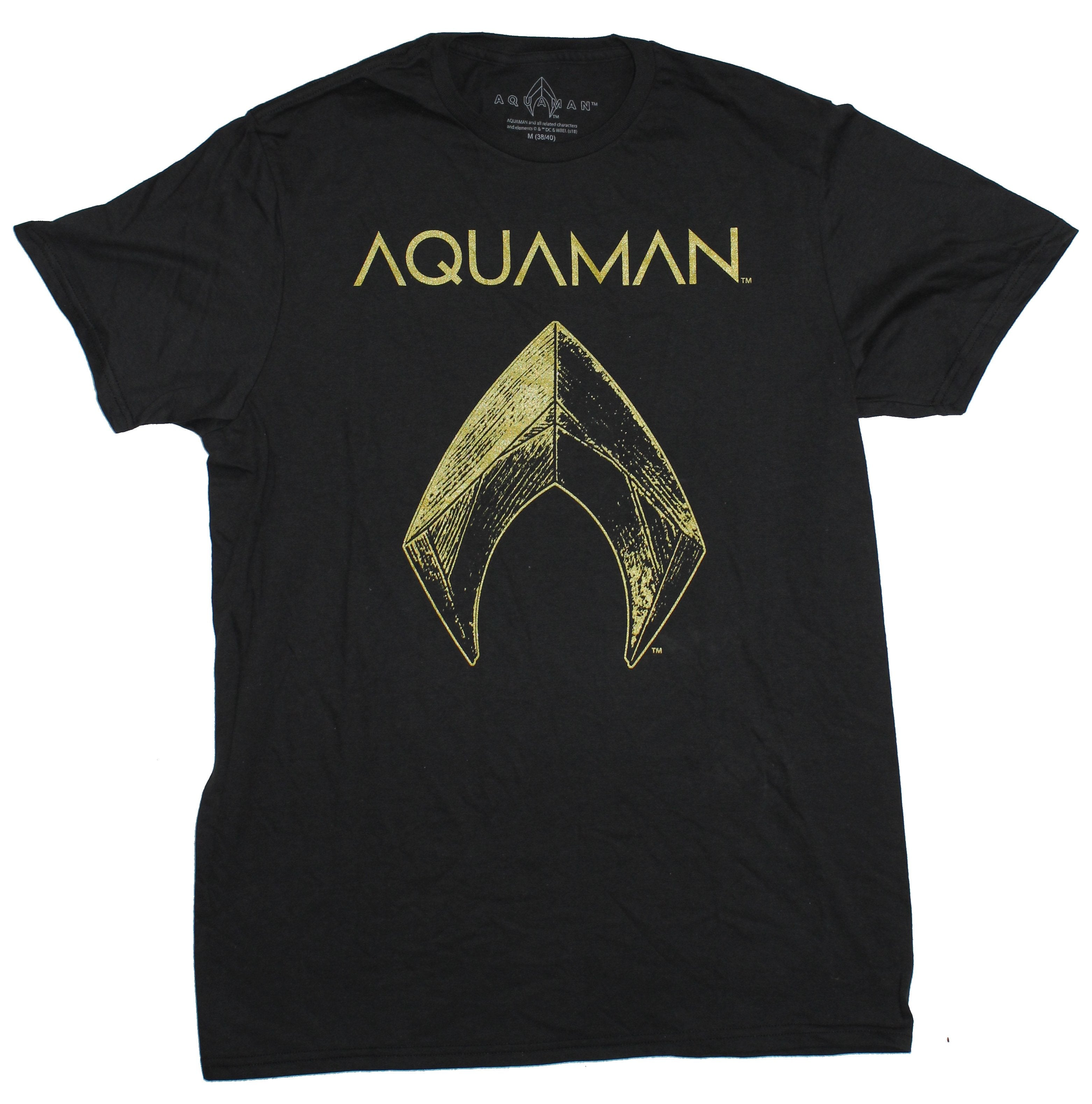 Aquaman DC Comics Mens T-Shirt - Golden Movie Logo Under Name