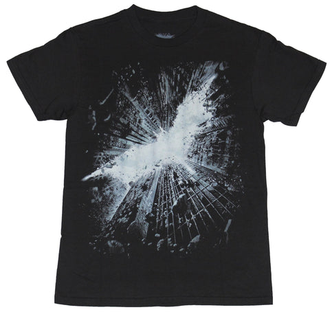 Batman (DC Comics) Mens T-Shirt - Dark Knight Logo in Crumbling Skyscrapers