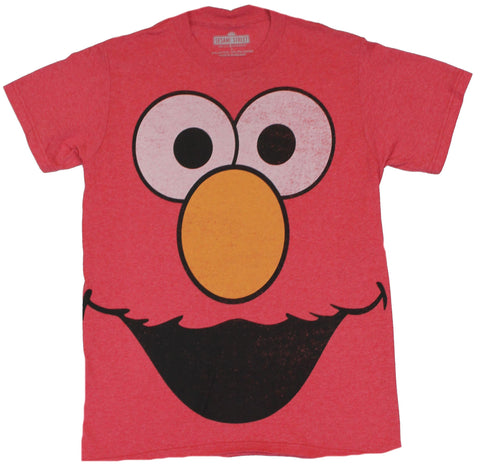 Sesame Street Mens T Shirt - Giant Elmo Face on Light Heather Red