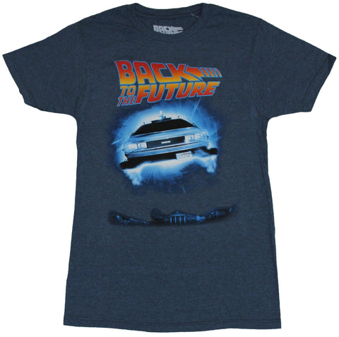 Back to the Future Mens T-Shirt - Floating DeLorean  Under Logo