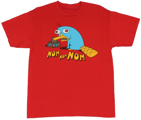 Phineas and Ferb (Disney Toon) Mens T-Shirt  - Nom Nom Weird Perry Image at