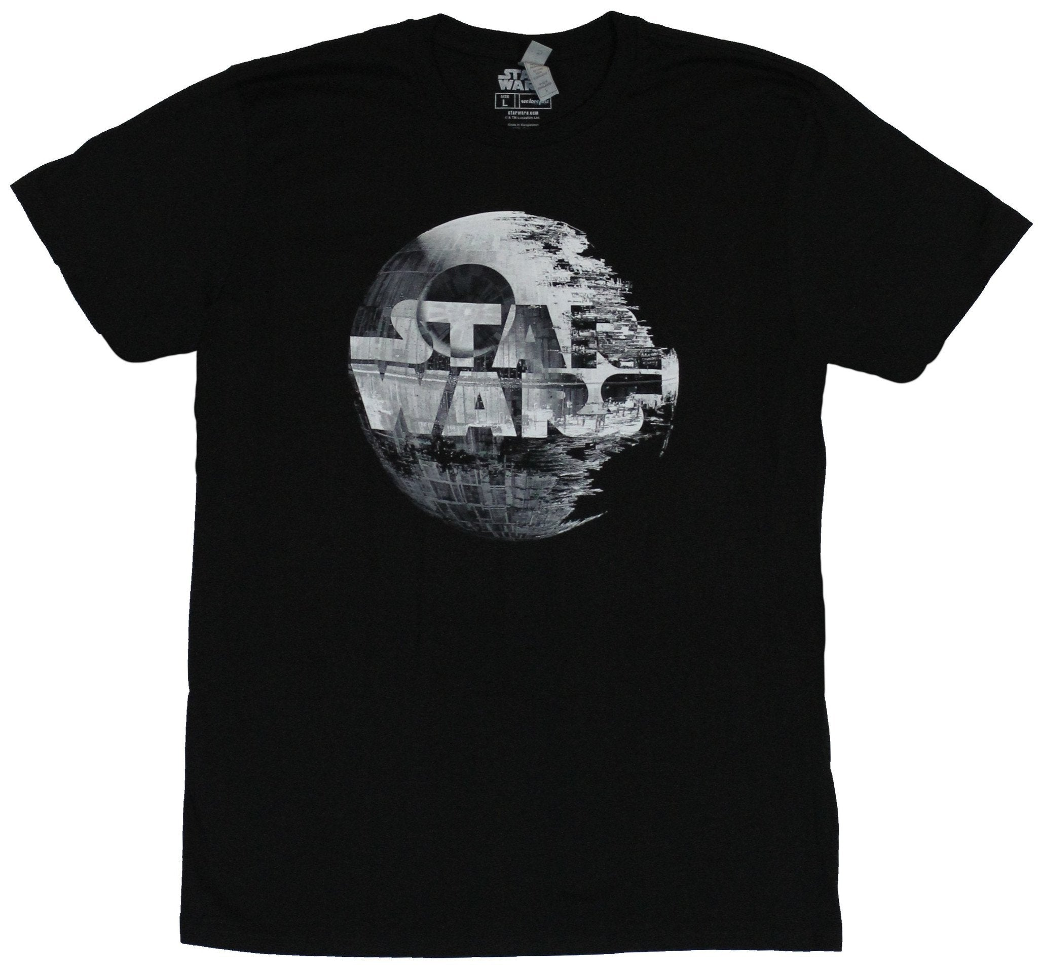 Star Wars  Mens T-Shirt - Name Logo Combined With Death Star Image