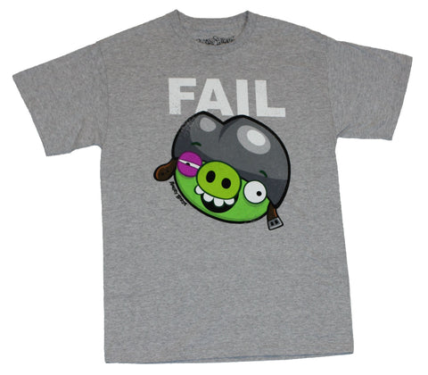 Angry Birds Mens T-Shirt  - Epic Fail Fail Bruised Pig Graphic on Gray