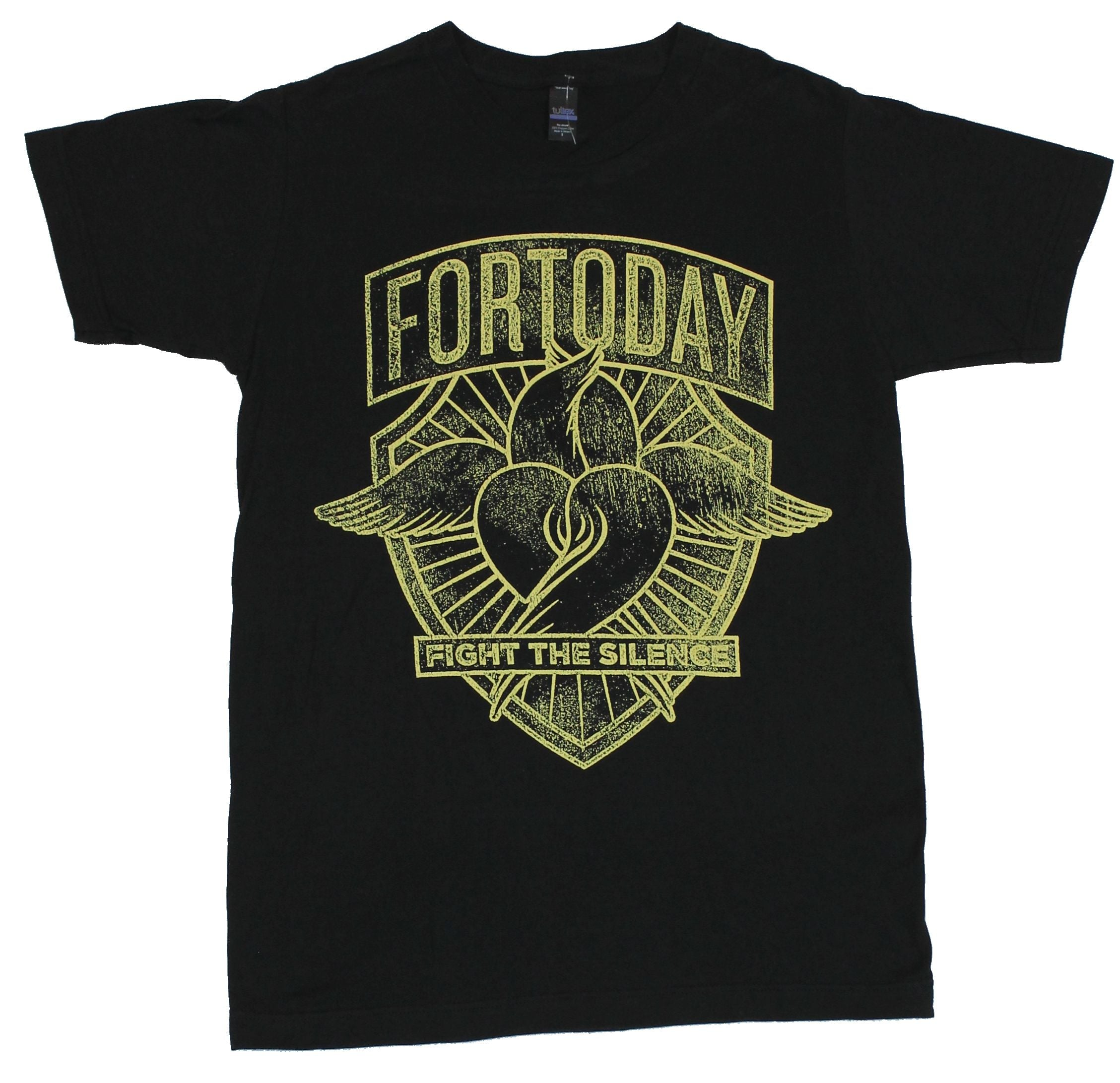 For Today Mens T-Shirt - Fight the Silence Distressed Winged Heart Image