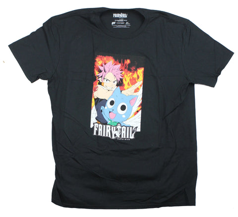 Fairy Tail Mens T-Shirt - Natsu & Happy On A Flame Field