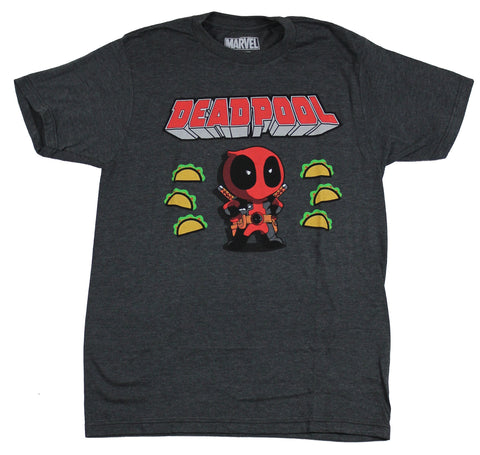 Deadpool (Marvel Comics) Mens T-Shirt - Chibi Style Deadpool Surrounded by Tacos
