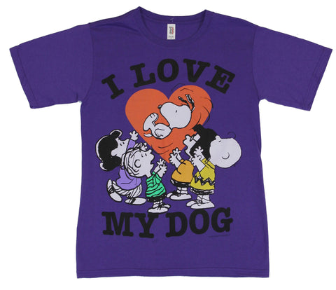 "Peanuts Mens T-Shirt -  ""Love My Dog"" Charlie Brown Snoopy Throw Image"