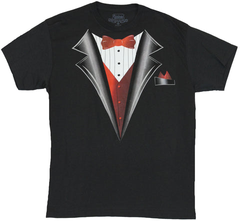Tuxido Front Mens T-Shirt -  Solid Bow Tie and Hankerchief Style Design