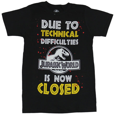 Jurassic Park Mens T-Shirt - Due to Technical Difficulties World Closed
