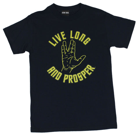 Star Trek Mens T-Shirt  - Live Long and Proper Hand Salute Image