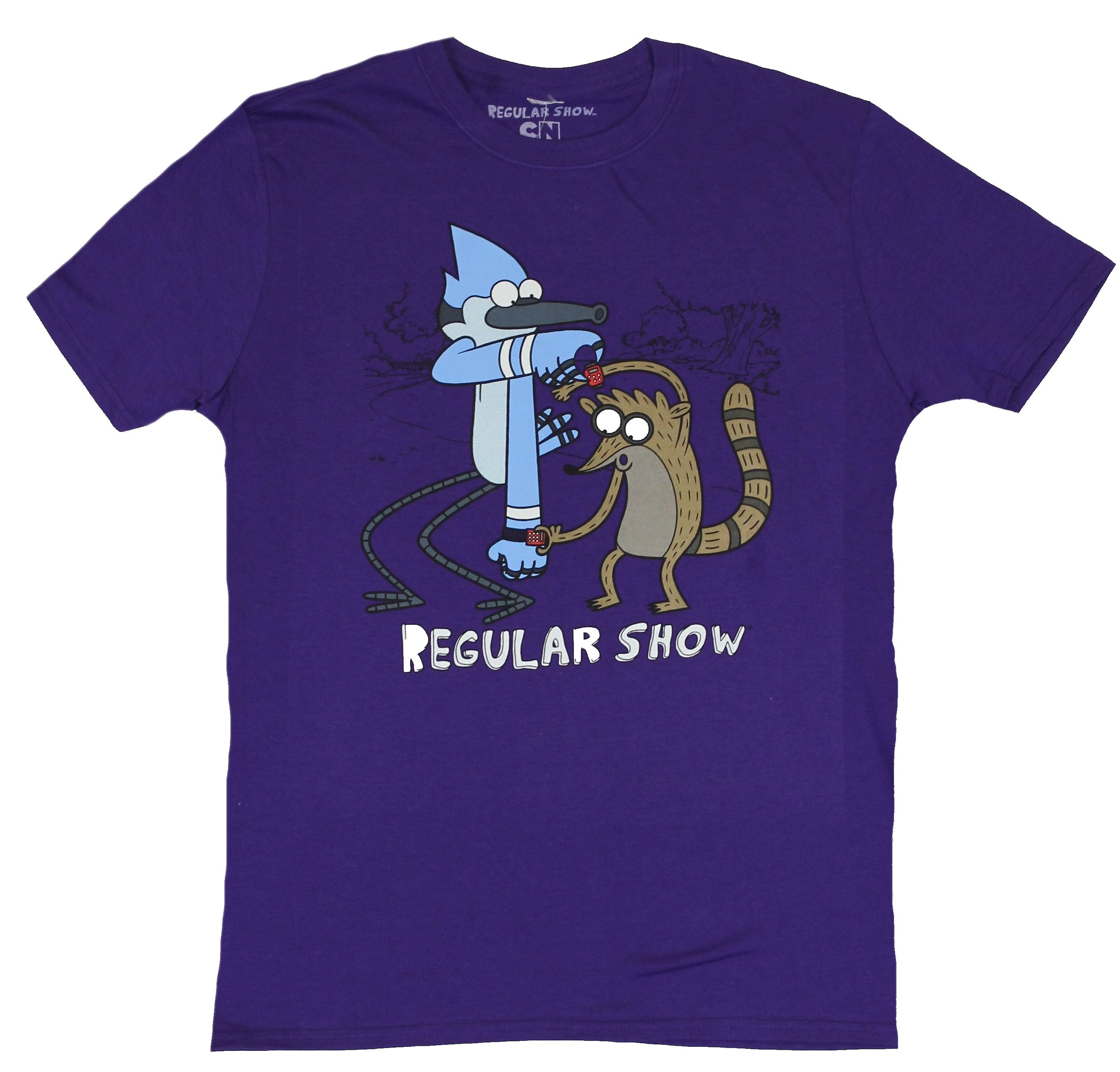 Regular Show Mens T-Shirt - Rigby & Mordecai Checking Out Each Other's Watches