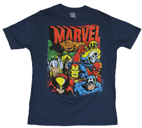 Marvel Comics Mens T-Shirt - 12 Cent Distressed Cast Head Images