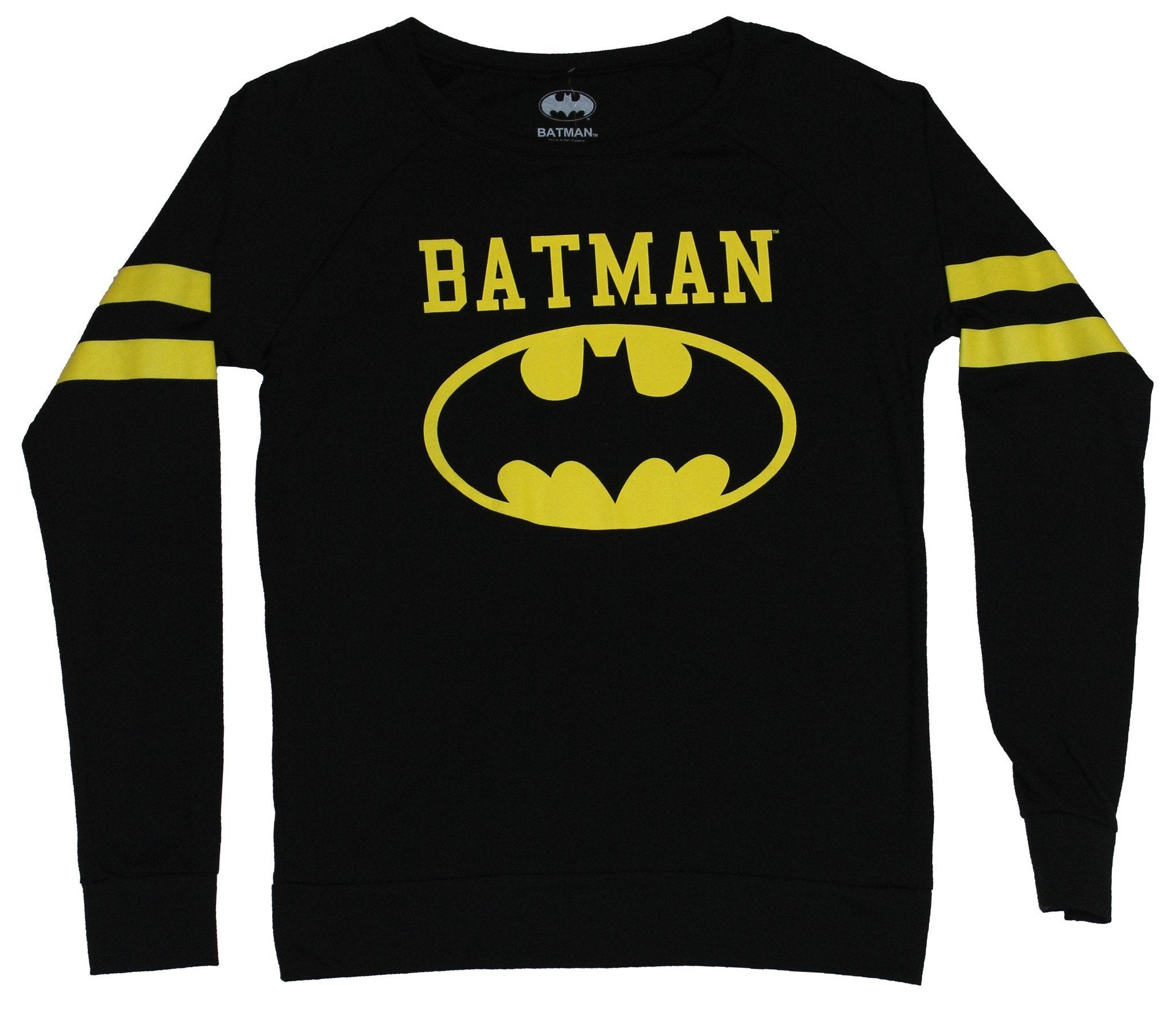 Batman (DC Comics) Girls Juniors Light Sweatshirt - Oval & Name Striped Sleeve