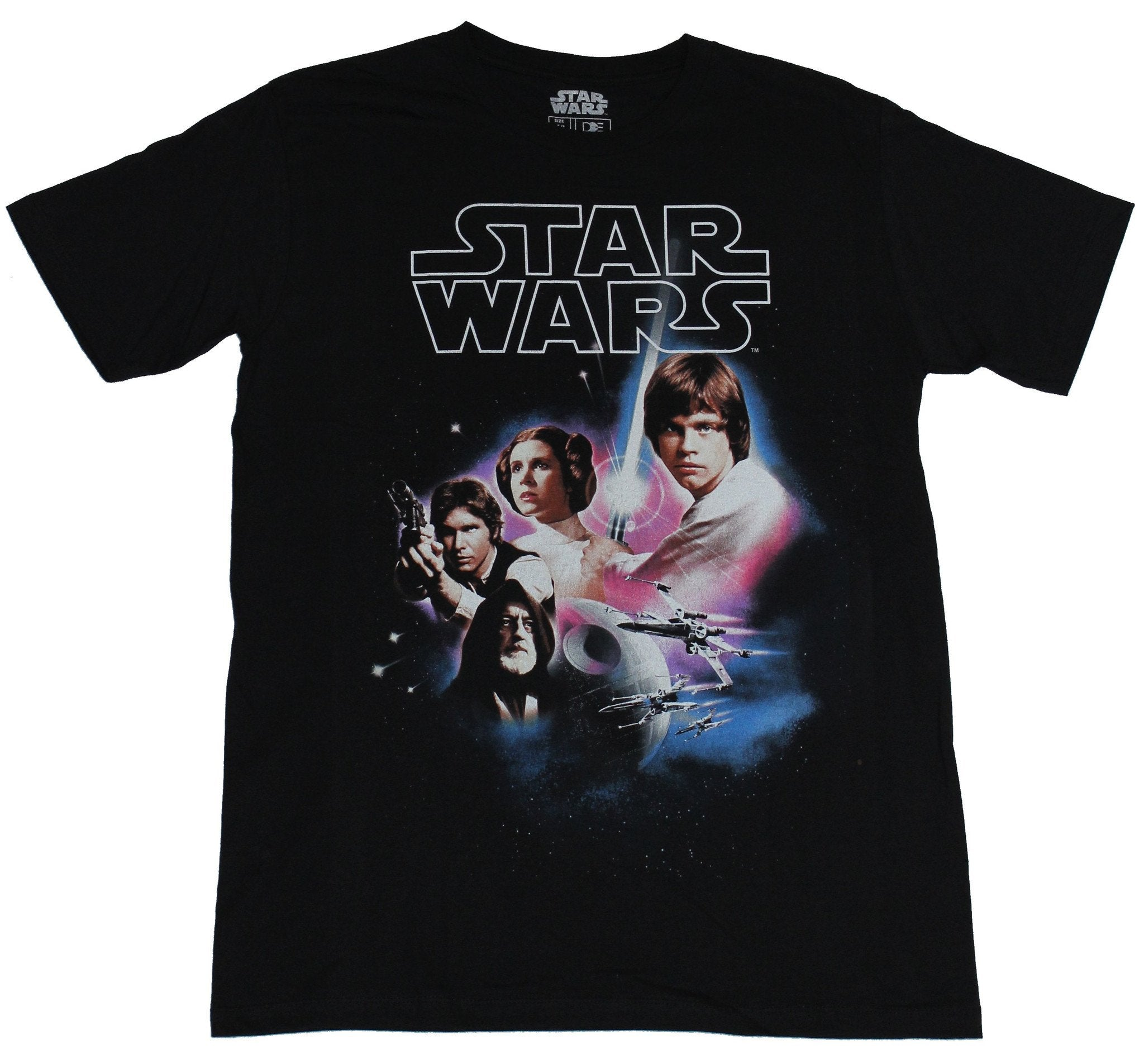 Star Wars Mens T-Shirt - Four Rebels Full Color Death Star & X-Wing