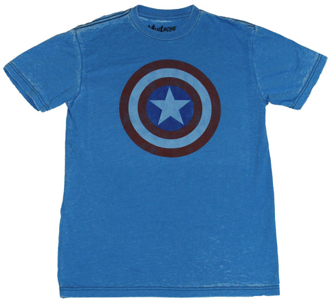 Captain America (Marvel) Mens T-Shirt - Classic Distressed 3 Color Shield Logo