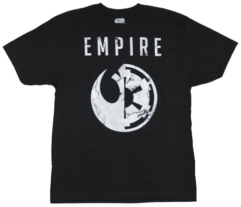 Star Wars Mens T-Shirt - Empire Logo of Rebel Alliance and Empire Halved