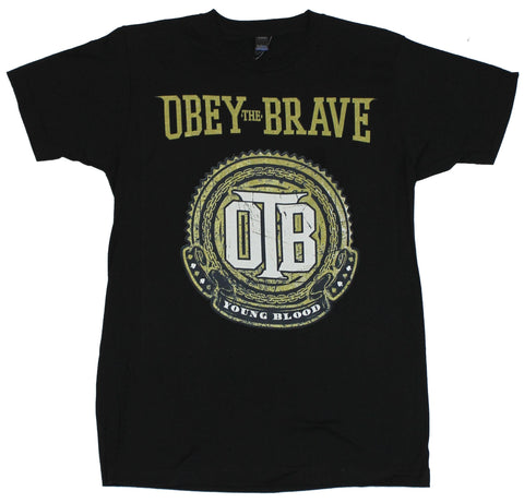 "Obey the Brave Mens T-Shirt - ""Young Blood"" Distessed OTB Logo Image"