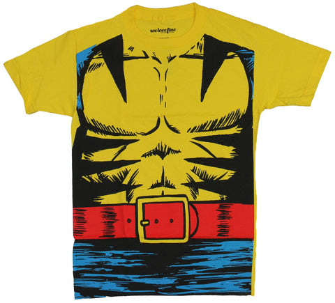 Wolverine (Marvel Comics) Mens T-Shirt -  Blue Pants Abs Costume Front