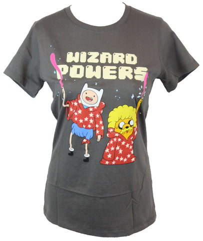 "Adventure Time Girls Juniors T-Shirt - Finn and Jake Have ""Wizard Powers"""