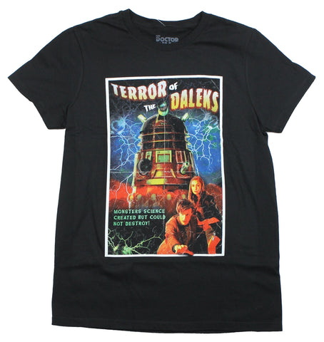 Doctor Who Mens T-Shirt - Terror OF The Daleks Cracked 11th Doctor Poster
