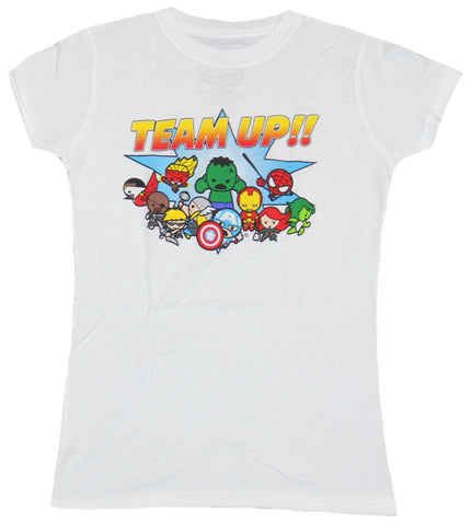 Marvel Comics Girls Juniors T-Shirt - Team Up Super Cute Marvel Buddies Image