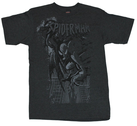 Spider-Man  (Marvel Comics) Mens T-Shirt - Grayed Out Swinging Over City Image