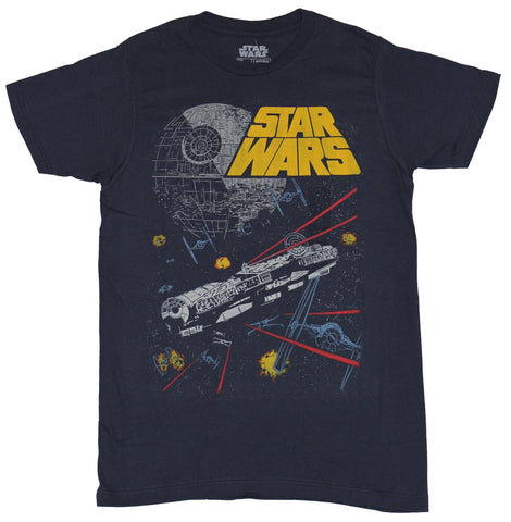 Star Wars  Mens T-Shirt - Orange Word Logo Millennium Falcon Death Star Run