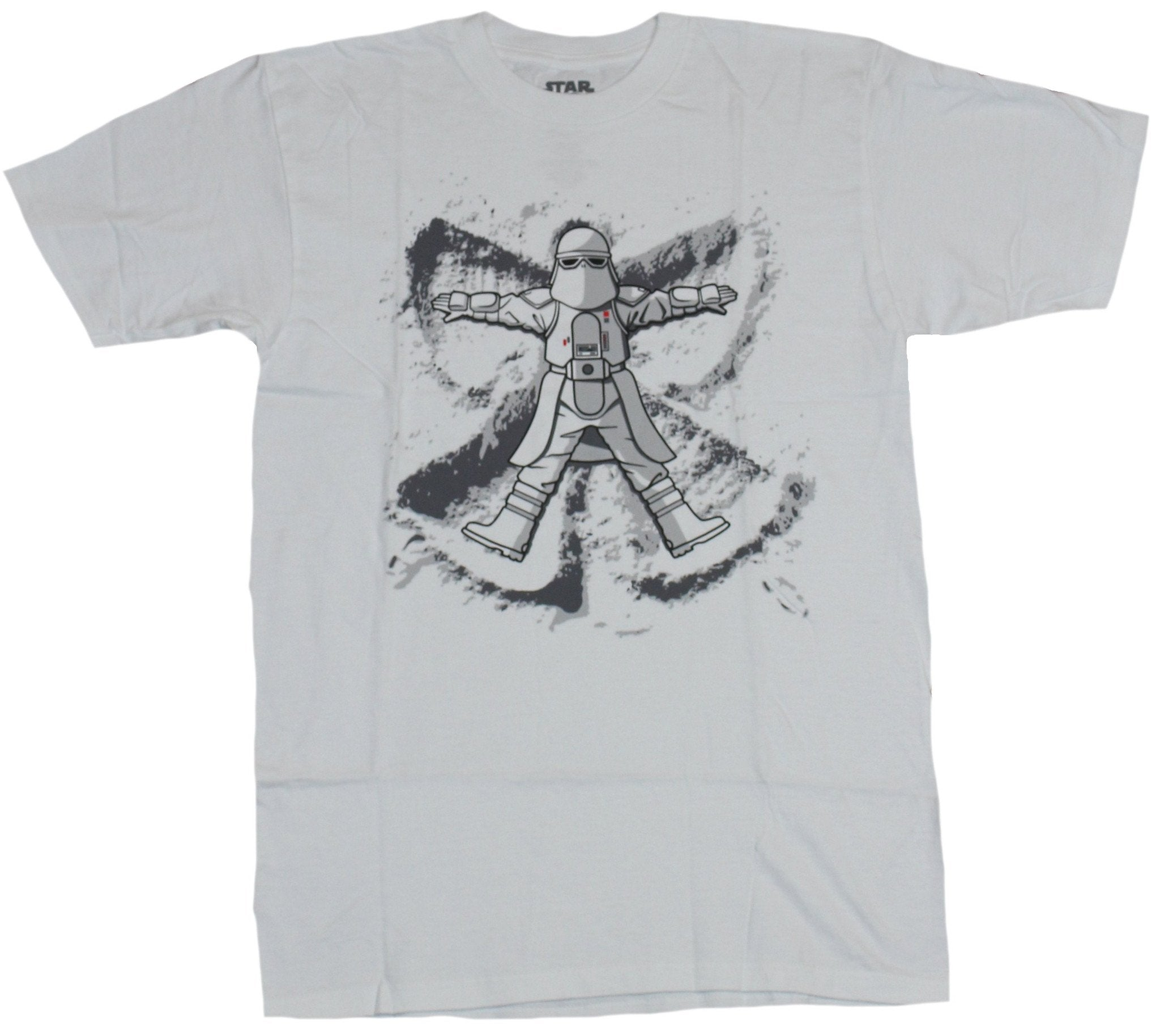 Star Wars Mens T-Shirt - Snowtrooper Snow Angel Playtime Image