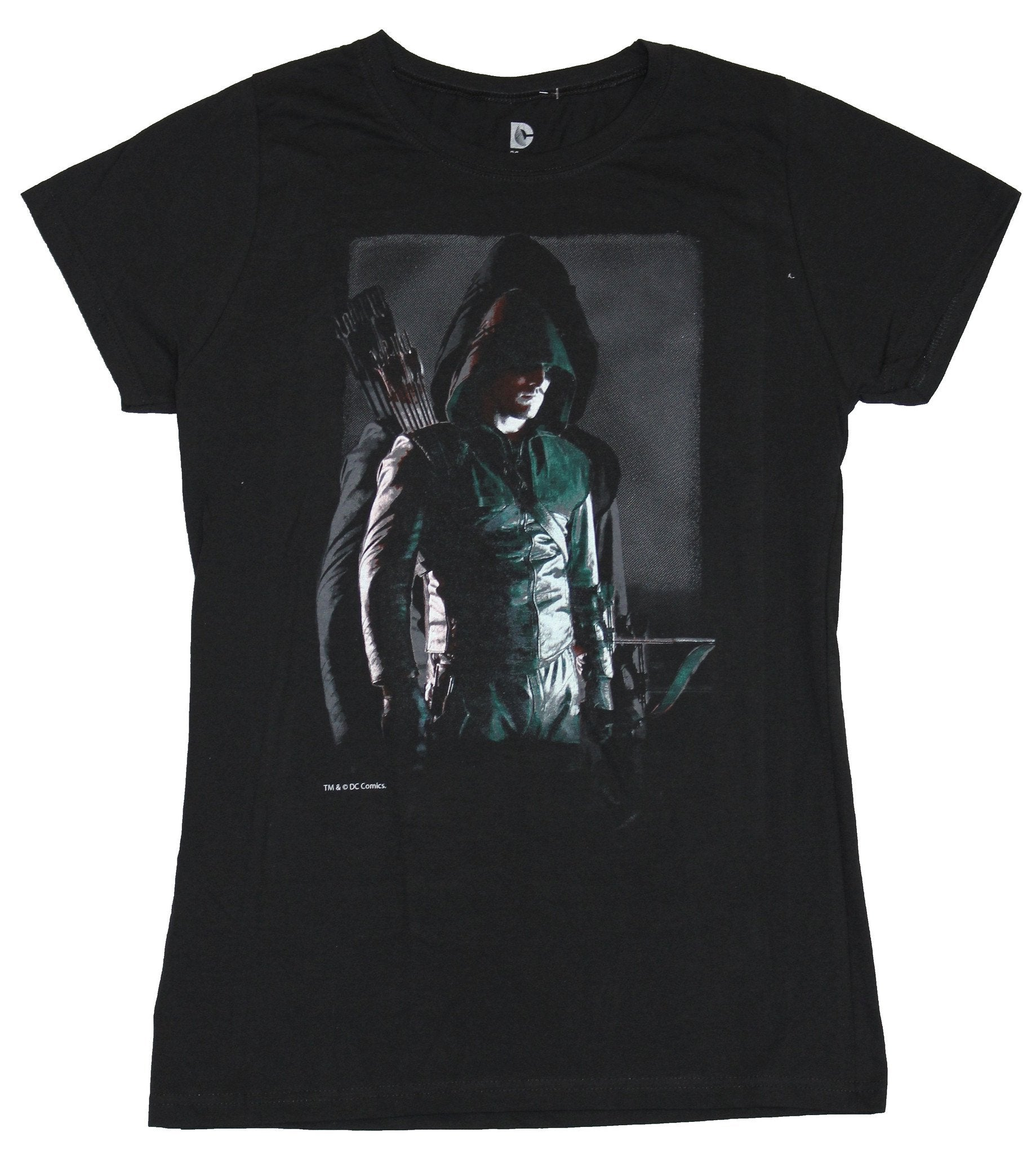 Green Arrow (DC Comics) Girls Juniors T-Shirt - Hood Down Standing in Shadow