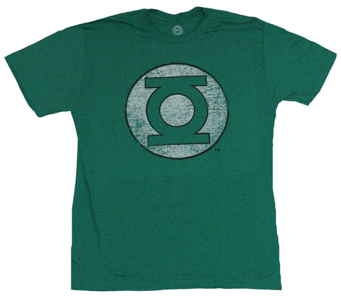 Green Lantern (DC Comics) Mens T-Shirt - Black Outlined Distressed Symbol