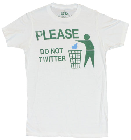 "Twitter Mens T-Shirt  - ""Please Don't Twitter"" Wastebasket Stick Guy  Image"