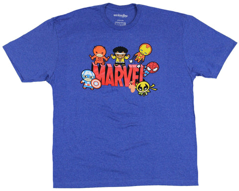 Marvel Comics Mens T-Shirt  - Marvel Cuties Taking off From & Protecting Logo