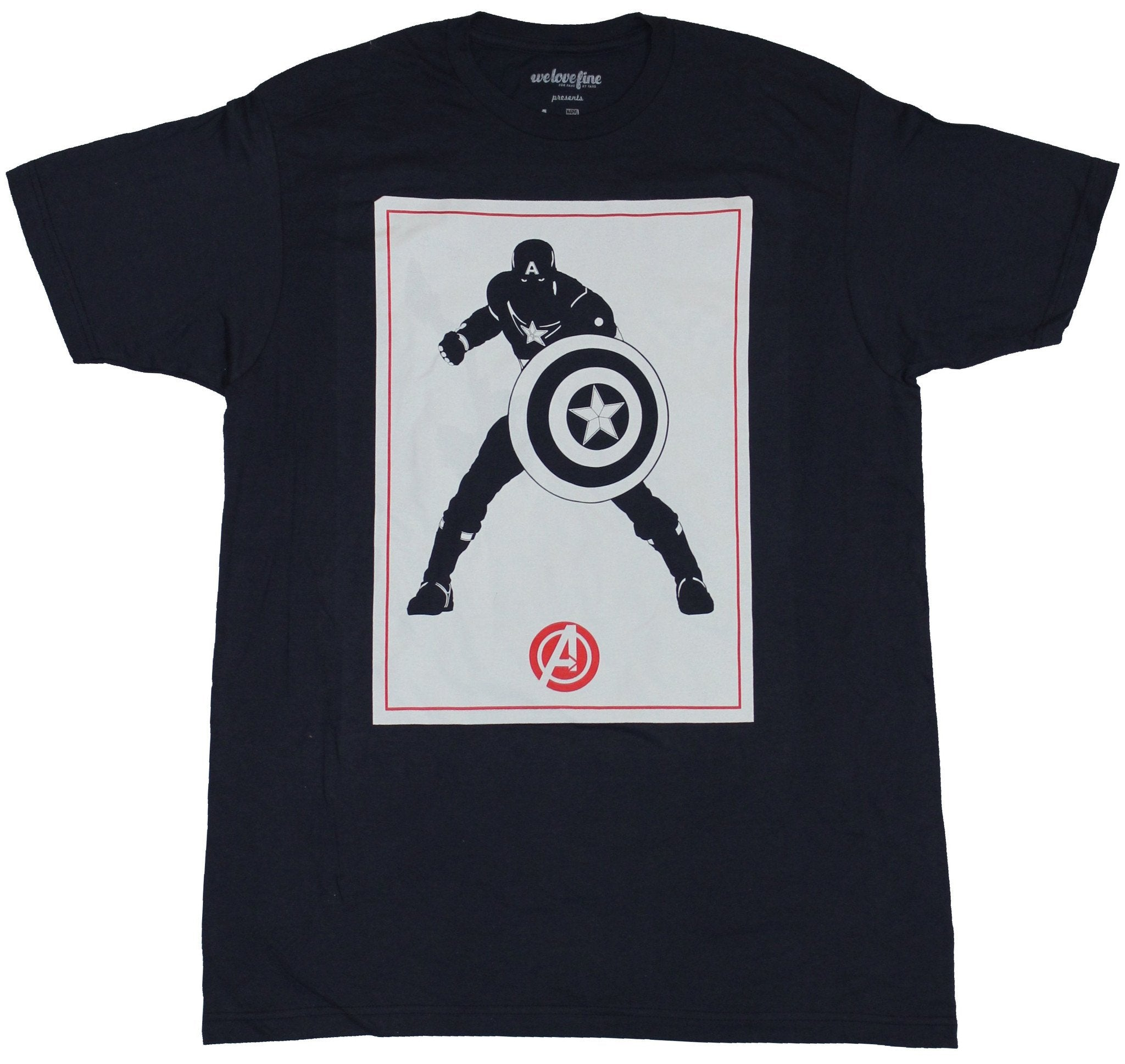 Captain America (Marvel Comics) Mens T-Shirt - White Card Silhouette