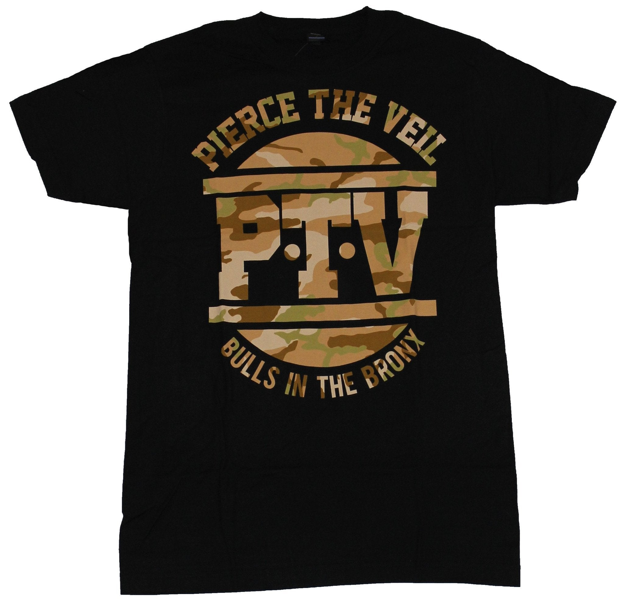 Pierce The Veil Mens T-Shirt - Camo Style PTV Bulls in the Bronx Image