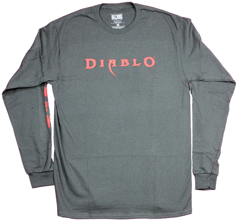 Diablo Mens Long Sleeve T-Shirt - Simple Name Logo Symbol Sleeves