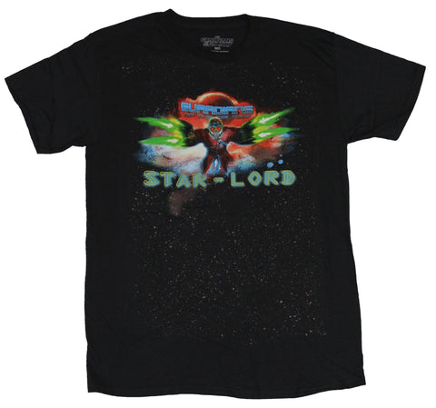 Guardians of The Galaxy Mens T-Shirt - Star Lord Rushing In Guns A Blazin