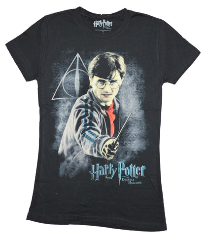 Harry Potter Girls Juniors  T-Shirt - Harry Wielding Wand Over Mist