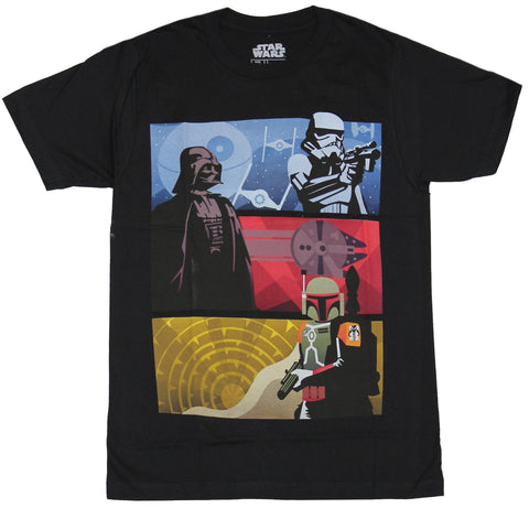 Star Wars Mens T-Shirt - Stormtrooper Darth Vader Boba Fett Color Bars Image