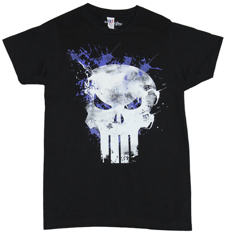 The Punisher (Marvel Comics) Mens T-Shirt - Purple Highlighted Splatter Skull