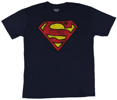 Superman (DC Comics) Mens T-Shirt - Distressed Dirty Classic Red Yellow Logo