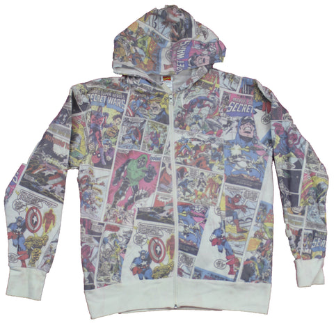 Marvel Comics Mens Zip Up Hoodie  - Classic Secret Wars Pages & Panels Allover