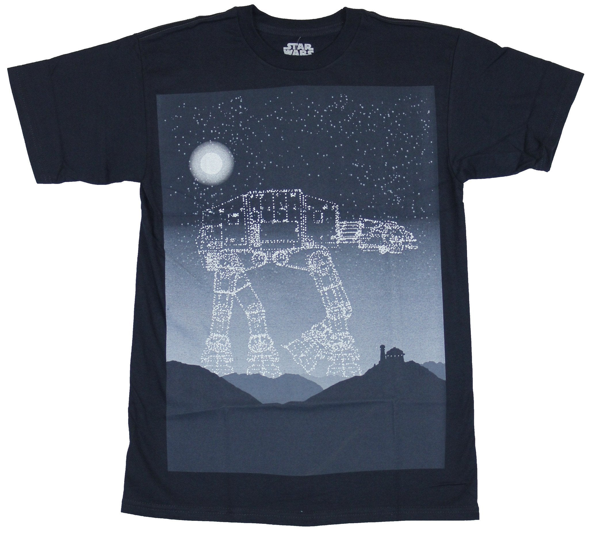 Star Wars  Mens T-Shirt - Starry AT-AT Moon Filled Sky Box Image