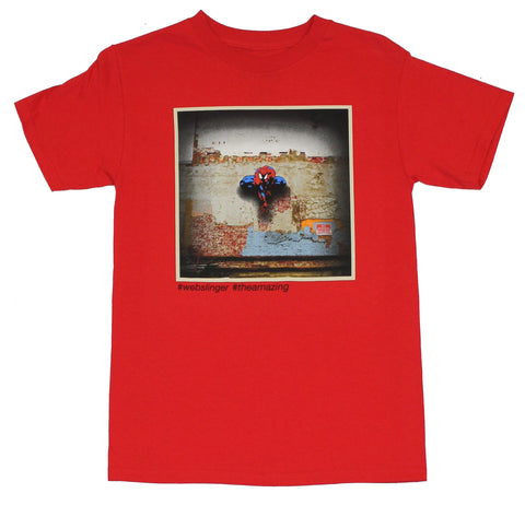 Spider-Man (Marvel Comics) Mens T-Shirt - #Webslinger #TheAmazing Wall Pic