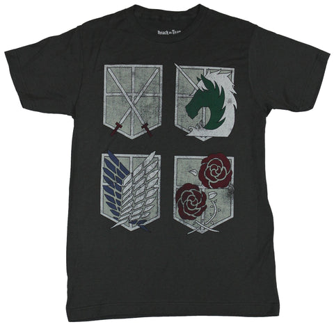 Attack on Titan Mens T-Shirt - Regiment Shields Logos Images
