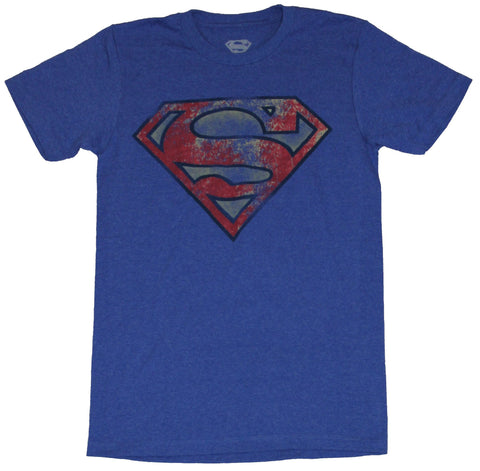 Superman (DC Comics) Mens T-Shirt - Heavily Distressed Red Yellow Blue Logo