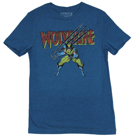 Wolverine (Marvel) Mens T-Shirt - Old School Wolvy Ripping Through Name Logo